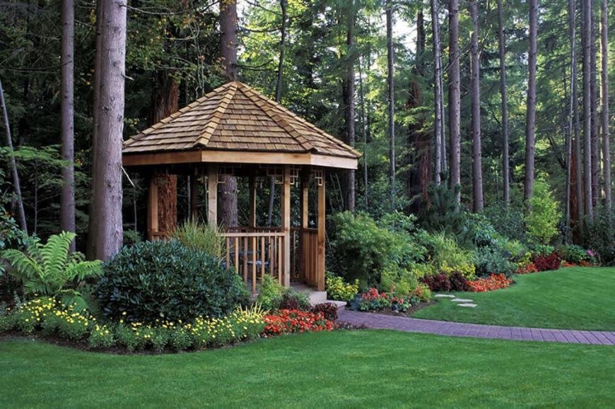 This Cedar Gazebo Takes Center Stage In This Lovely, Lush Garden. Welcome  To Our Gallery Featuring 41 Stunning Backyard Landscaping Ideas.