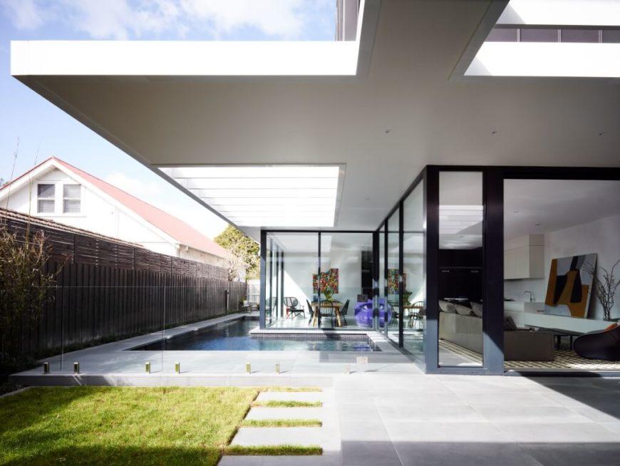 Modern open plan design home with wraparound glazing