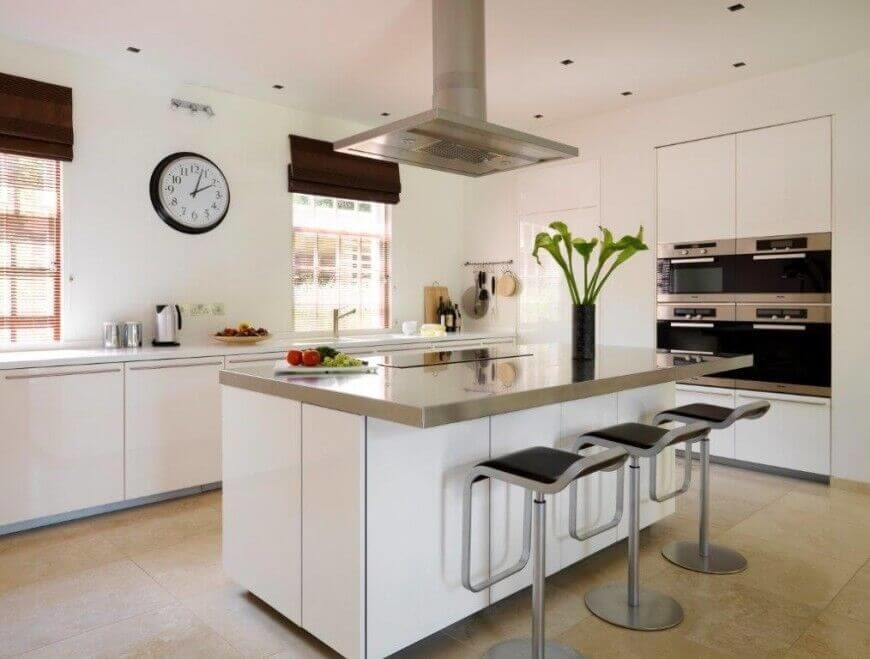 A classic white kitchen with stainless steel appliances and modern bar stools