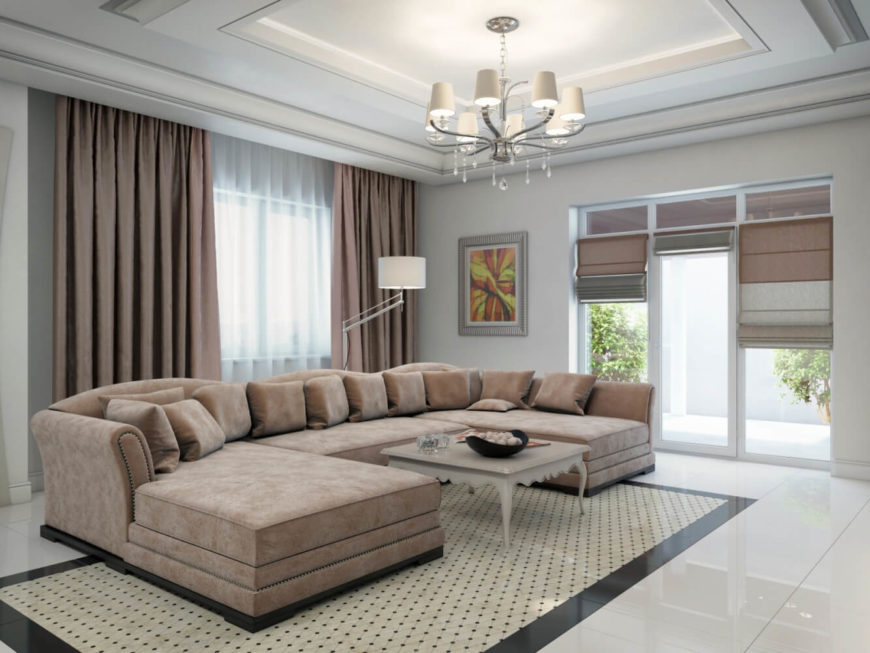 This gloriously plush and soft sectional couch offers &le seating for family and guests. Featuring & Opulent Home in Art Deco Style by ARS-IDEA Interior and ...