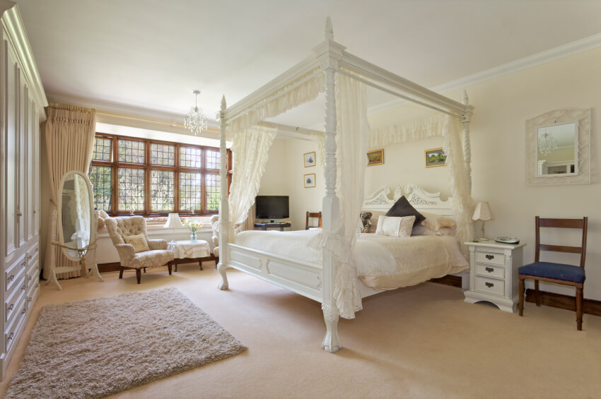 The focal point of this traditional-contemporary master bedroom is the ornately carved canopy bed & 18 Master Bedrooms Featuring Canopy Beds and Four Poster Beds ...