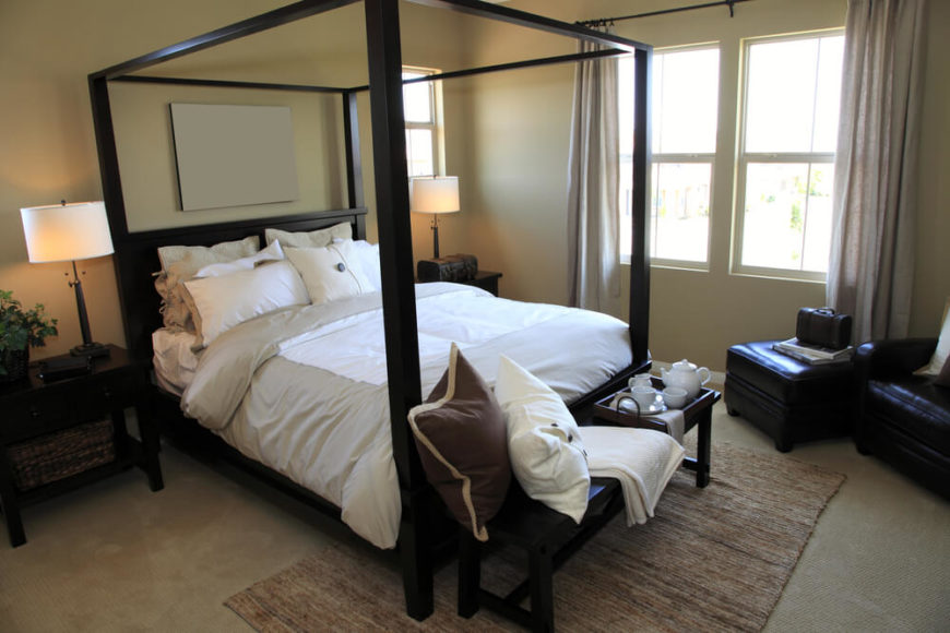 Even the simplest four poster bed can add height and a sense of lofty sophistication to & 18 Master Bedrooms Featuring Canopy Beds and Four Poster Beds ...