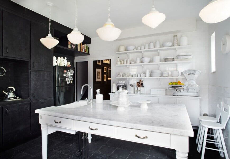 White And Black Strike An Amazing Contrast In The Design Of This Kitchen Ebony Cabinets