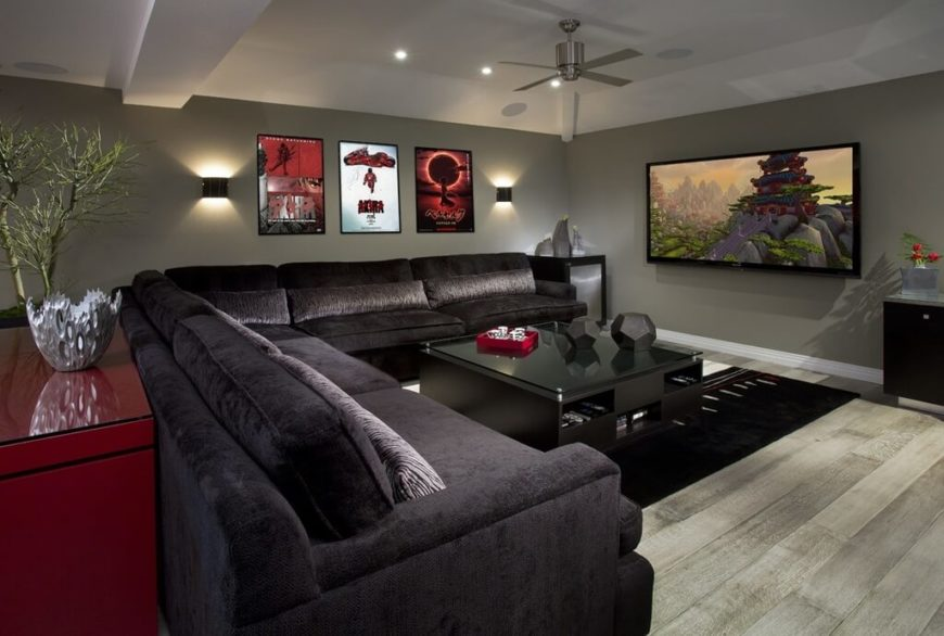 This Family Room Feels Great For Entertaining! The Silver Ceiling Fan  Complements The Sleek Look