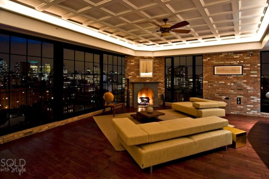 26 hidden gem living rooms with ceiling fans pictures the ceiling fan perfectly complements the use of warm wood and yellow tones in the furniture aloadofball Choice Image