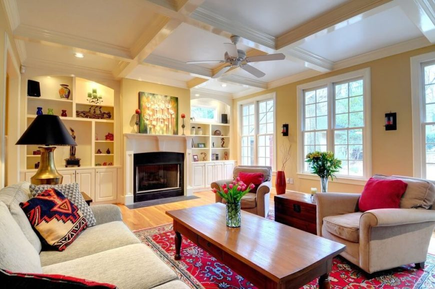 26 hidden gem living rooms with ceiling fans pictures blending this fan with the ceiling color allows for the white ceiling to offset the use aloadofball Images