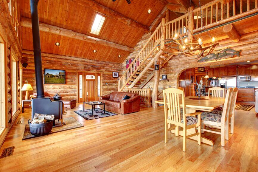 Living Rooms. Rustic Open Concept Cabin Style Living Room And Kitchen.