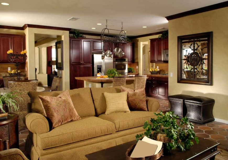 living room furniture cabinets. Just around the corner from this traditional living room is a large kitchen  and dining 26 Incredible Airy Living Rooms with Kitchen Openings TONS OF