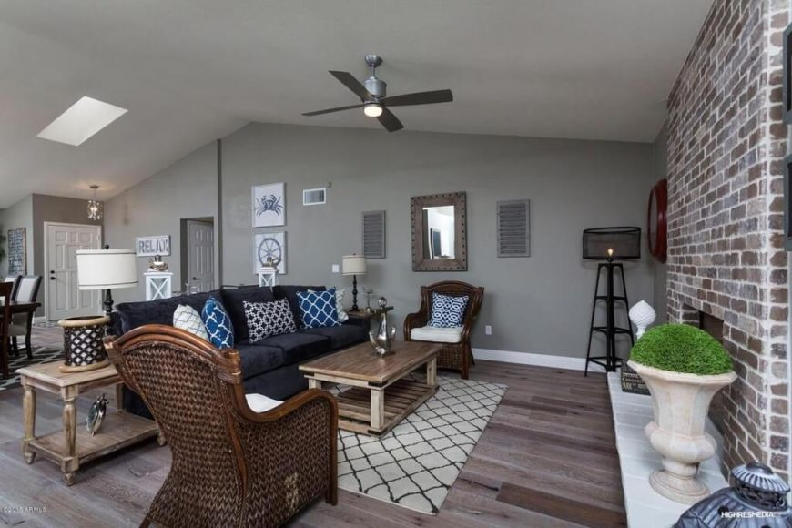 This Brushed Nickel Ceiling Fan Complements The Colors Scheme And Decor Of  This Room Nicely.