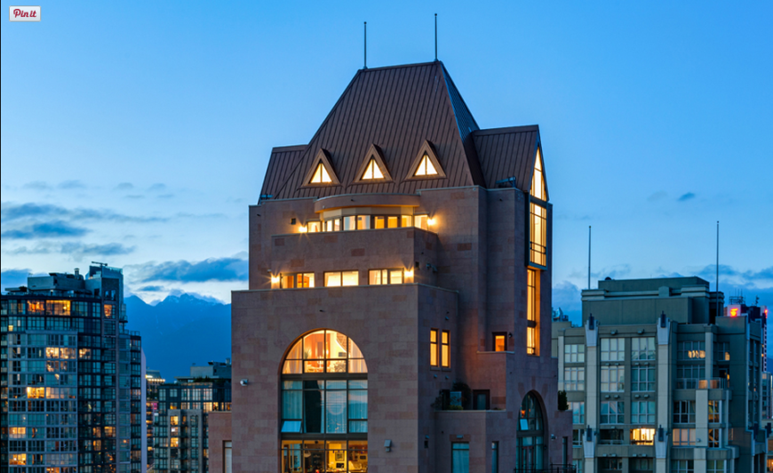 Located in the beautiful Grace building, here the exterior of the three-story penthouse can be seen.