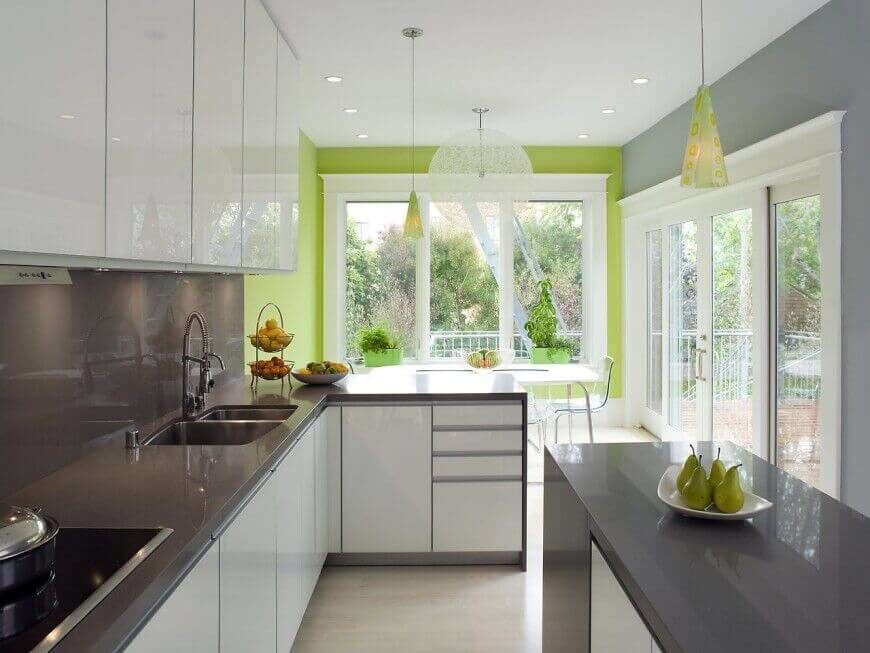 grey kitchen colors. This color scheme of white  grey and bright green differentiates this kitchen from others 36 Inspiring Kitchens with White Cabinets Dark Granite PICTURES
