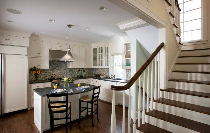 kitchen design ideas white cabinets. This Quaint Kitchen Expands Itself With The Use Of White Cabinets And  Matching Fridge Doors 36 Inspiring Kitchens White Cabinets Dark Granite PICTURES
