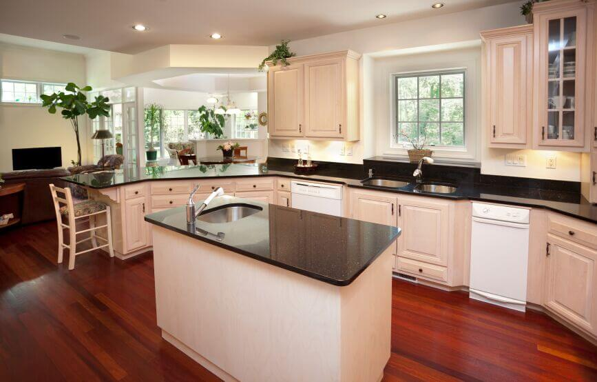Inspiring Kitchens With White Cabinets And Dark Granite PICTURES - Grey wood floor white kitchen