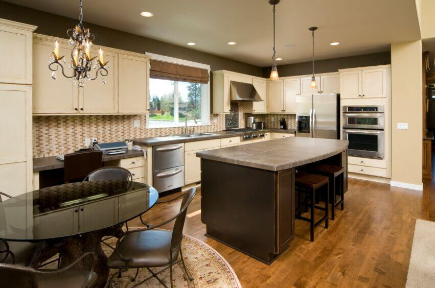 Inspiring Kitchens With White Cabinets And Dark Granite PICTURES - Light grey kitchen cabinets with black island
