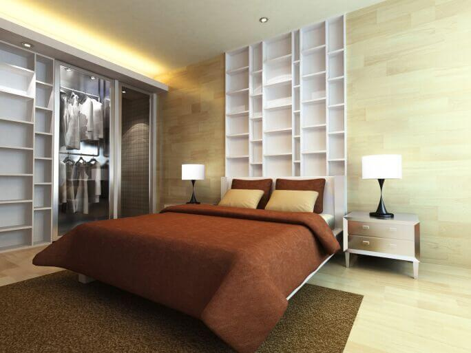 In An Elegant Modern Bedroom Awash In Bright Natural Wood, From Floors On  Up The