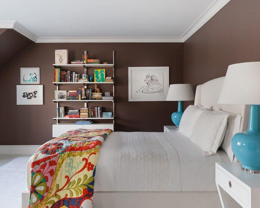 high contrast informs the look of this bedroom with pristine white furniture set against chocolate - Bedroom Bookshelves
