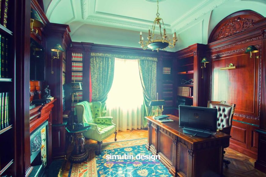 As we move into the library and office, we are struck by the sheer size of the built-in bookcases and the ornate executive desk. A leather chair sits commandingly behind the desk. A more masculine chandelier lights the room.
