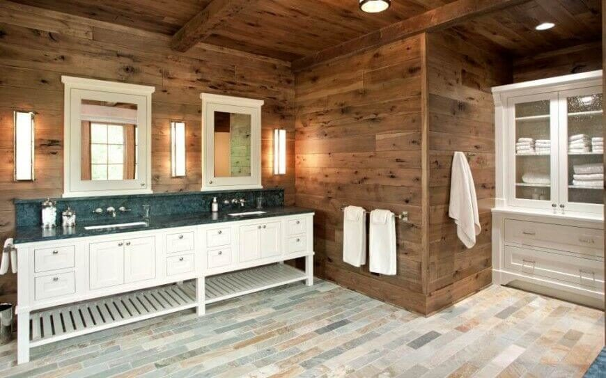 Contemporary Multi Tonal Tile Floors Are Paired With Rustic Wooden Walls.  Country Style