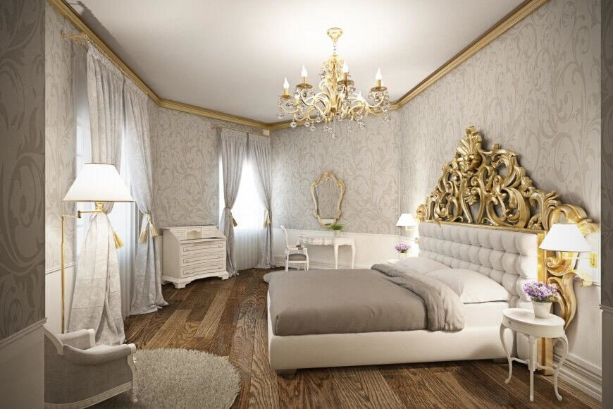 This glamorous bedroom accents the white furniture with shades of warm grey  and bright gold 28 Beautiful Bedrooms With White Furniture PICTURES