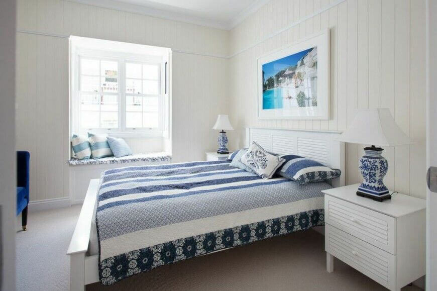 White And Blue Is A Classic Color Scheme And This Room Makes Effective Work  Of It