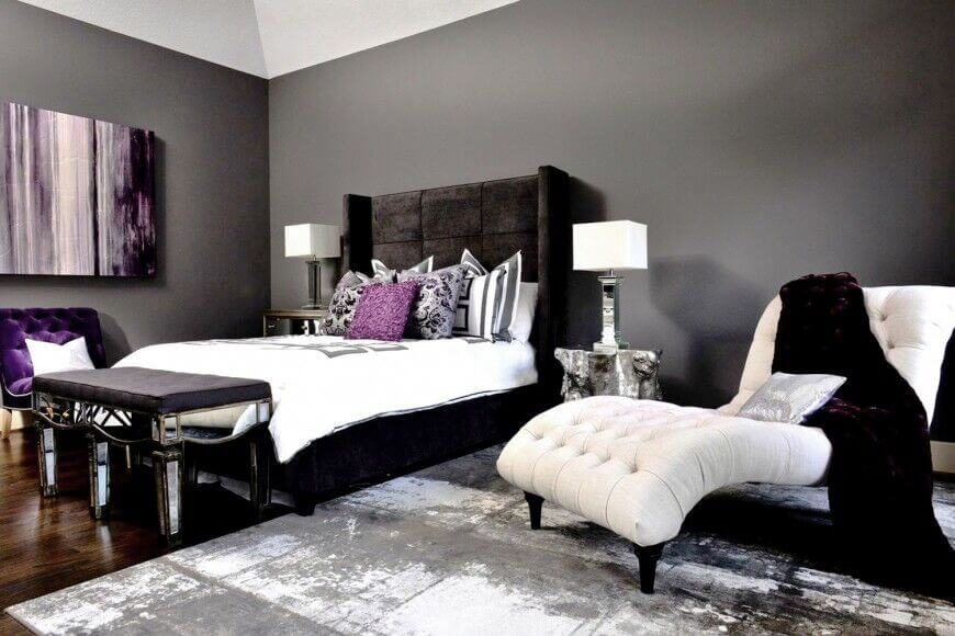 The White Furniture In This Room Creates A Striking Contrast To The Black,  Grey,