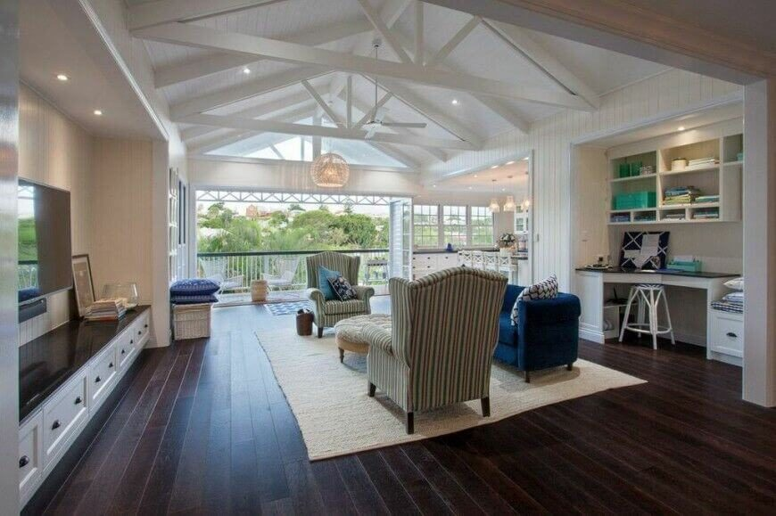 fabulous white living rooms vaulted ceilings beams | 32 Spectacular Living Room Designs with Exposed Beams ...