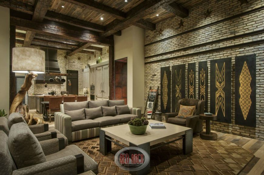 This Deeply Rustic Living Room Sandwiches Modern Furniture Between Light  Brick Walls. The Double Height