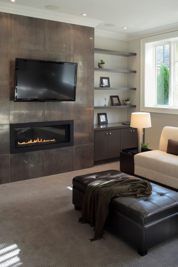 49 exuberant pictures of tv 39 s mounted above gorgeous for Long modern fireplace