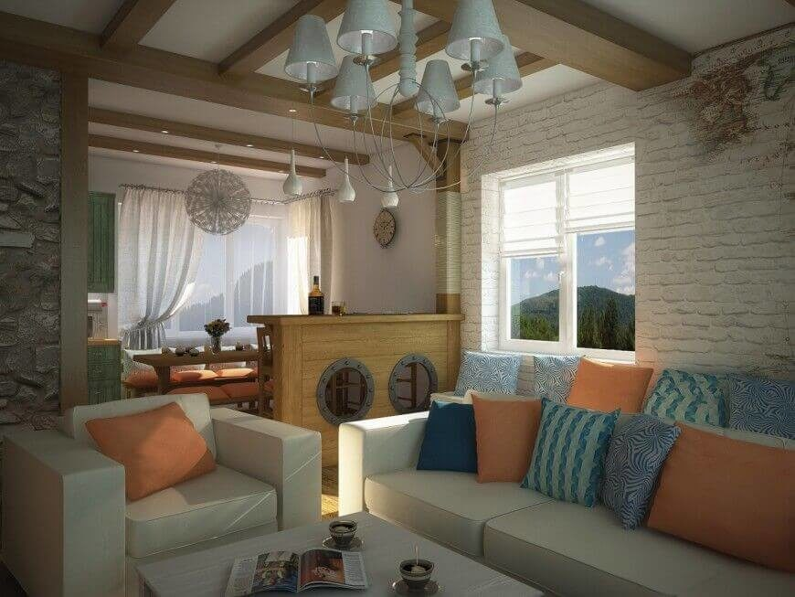 This smaller living room seems a little small, and the bright pillows layered on the sofa add much needed color.