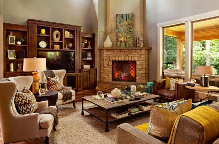 There's a lot going on in this living room, but each area has items grouped together that match in some way, color, shape, material, or size.