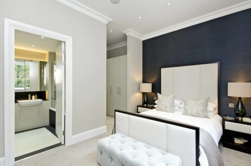 accent walls in bedroom. Elegant bedroom with blue accent wall  24 Comfortable Bedrooms an Interesting Accent Wall DETAILED