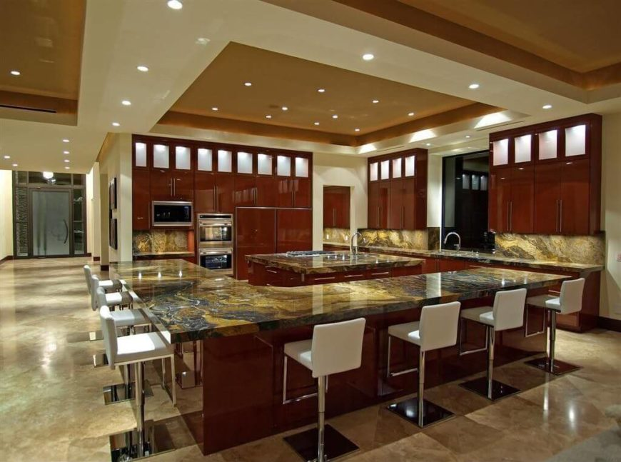 small can lights are recessed into the recessed ceiling which in turn is surrounded by - Lighting Bars For Kitchens