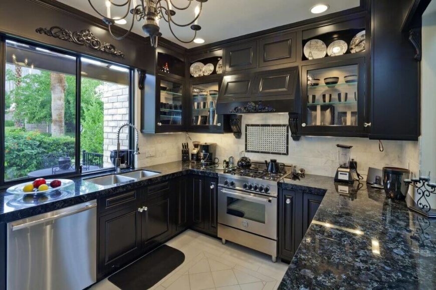 Kitchen Dark Cabi  Dark Granite on black kitchen cabinets with gray walls