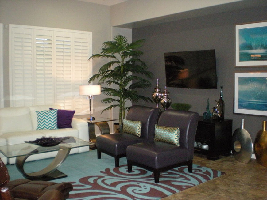 32 lively living rooms with houseplants great pictures for Modern accent rugs for living room