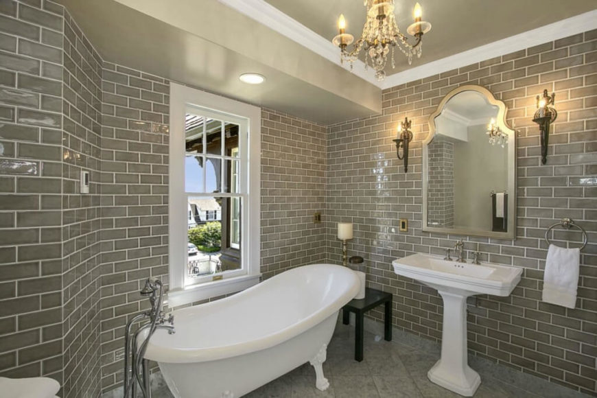 A Glossy Finish On The Brick In This Bathroom Give The Space A Sense Of  Depth