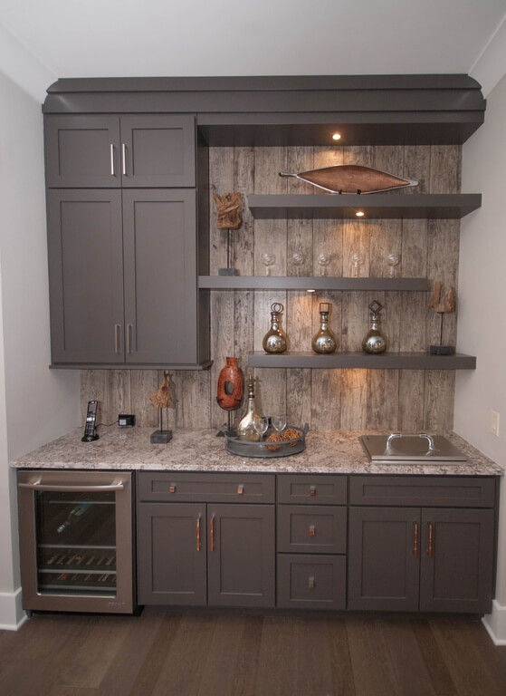 contemporary gray home bar with open shelving and rustic paneling as ...