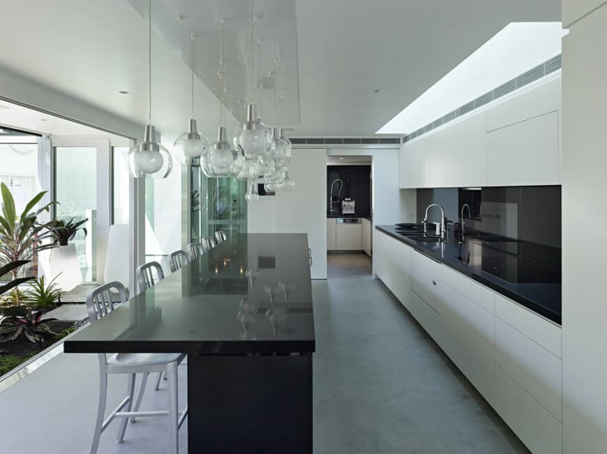 kitchen design black and white. A modern kitchen in soft gray  pristine white and glossy black with an indoor 44 Grand Rectangular Kitchen Designs PICTURES