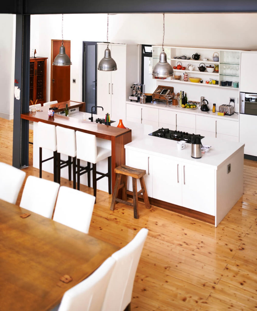 A Lovely Contemporary Kitchen With A Few Modern Flairs, Including Slim  Cabinets With Long Pulls