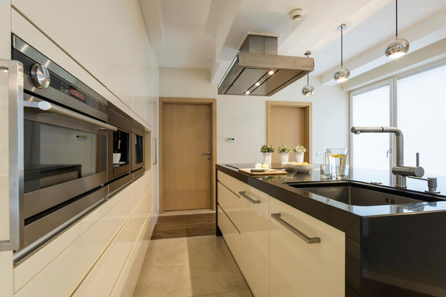 Another Modern Kitchen With A Massive Single Basin Sink, Sleek Wall  Cabinets, And