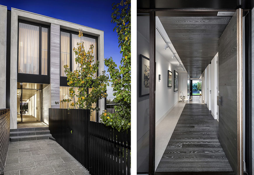 This shot juxtaposes the views from the entry gate and from the front entrance itself, seeing both the dramatic exterior and the sprawling, open-plan interior. The dark wood and light marble flooring inside mirrors the look of the exterior facade.