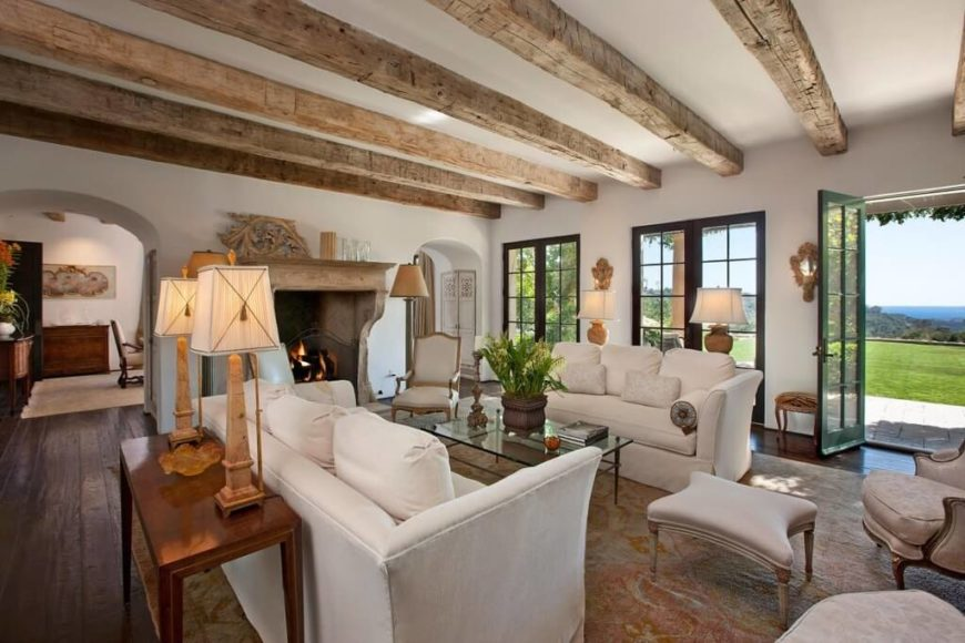 26 gorgeous living rooms with white furniture - Living room ceiling beams ...
