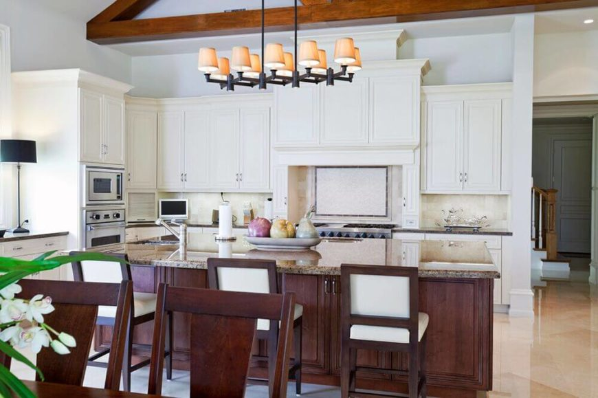 The Chairs In This Kitchen Help To Carry The Contrasting Color Of The Island  Further Into