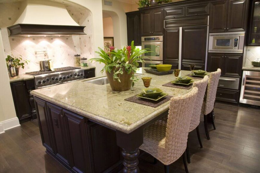 kitchen island cabinets. Dark brown cabinets are offset by a slightly paler floor while the  off white 32 Kitchen Islands With Seating Chairs and Stools