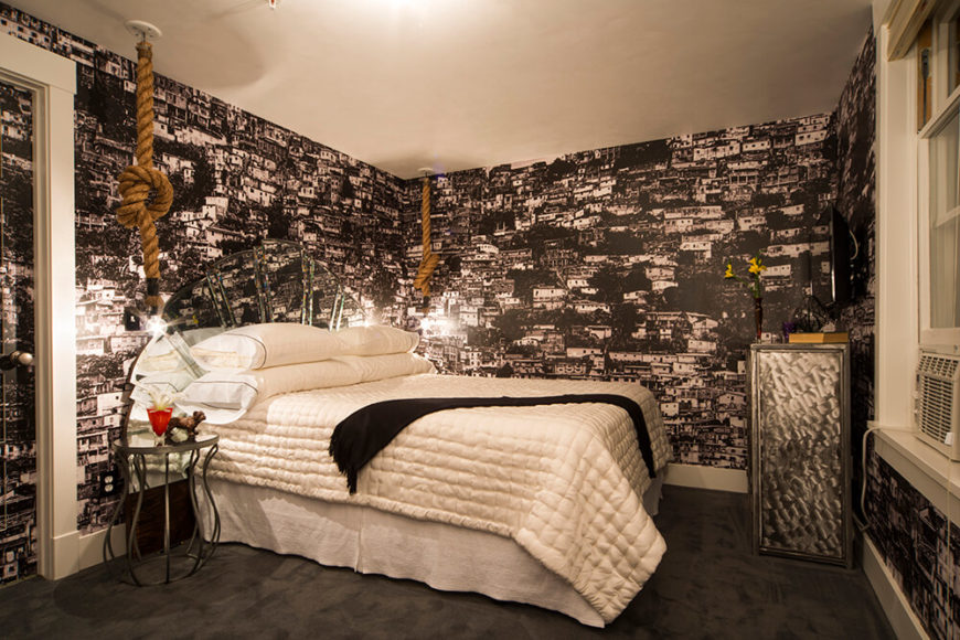This Bedroom Is Wrapped In The Favela Wallpaper, Making For A Sharply  Textural Appearance With