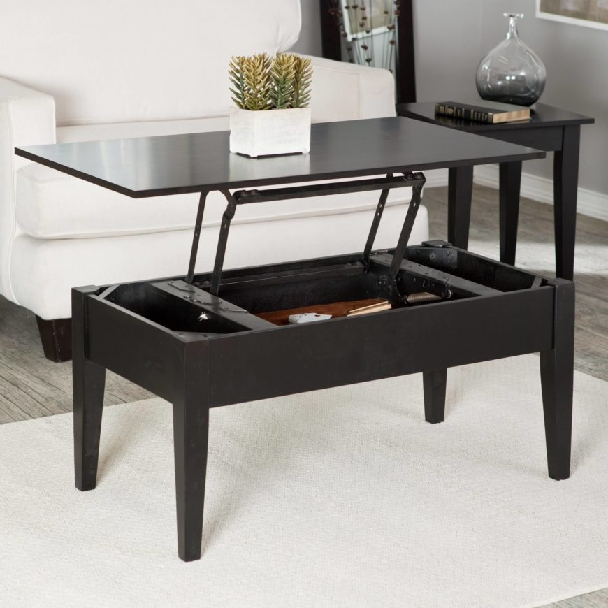 The darker natural wood tone of this coffee table helps it reach a more elegant tone, while the simple traditionally styled frame completely obscures the lift functions within a surprisingly svelte area.
