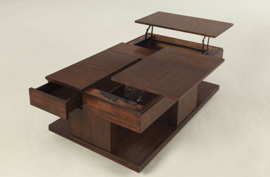 Not only does this sleek natural wood coffee table sport a pair of convenient lift tops, but it's also got pull-out drawers and lower level storage as well. It's an utterly utilitarian design that manages to fold into something simple and elegant looking.