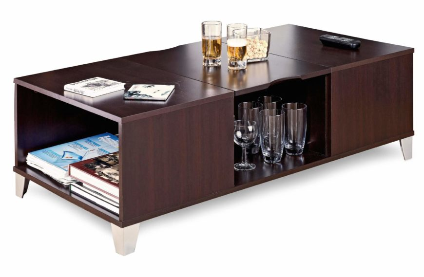 The thick build and dark espresso wood of this coffee table give it a classic midcentury modern look, while the addition of remarkable amounts of storage adds a layer of utility that's unmatched.