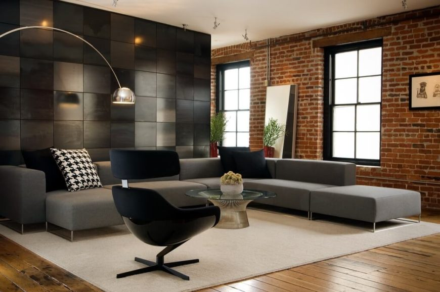 38 beautiful living rooms with exposed brick walls for Best family room layout