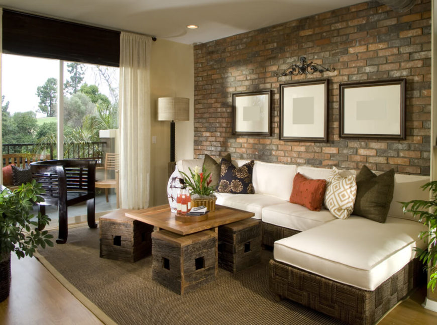 Brick Walls In Smaller Living Rooms Provide A Sharp Interest Point That Does Pretty Good