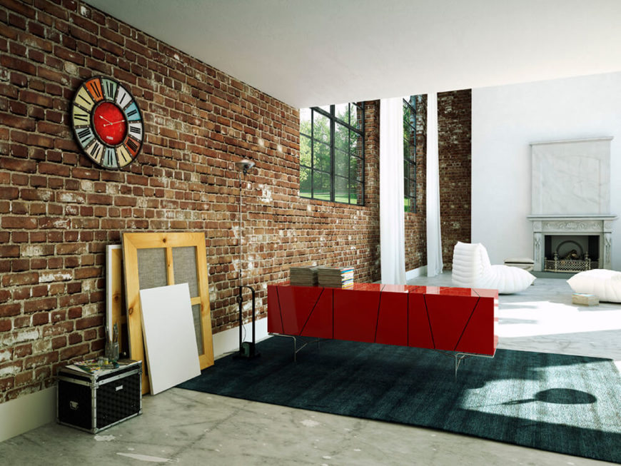 38 beautiful living rooms with exposed brick walls for Living room structure design